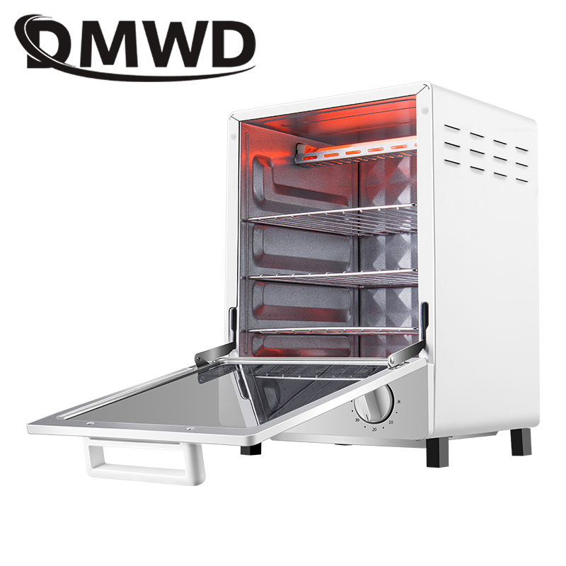 DMWD MINI Toaster Electric Oven Multifunction Timer Making Biscuits Bread Cake Pizza Cookies Baking Machine 12L Liter 800W EU US