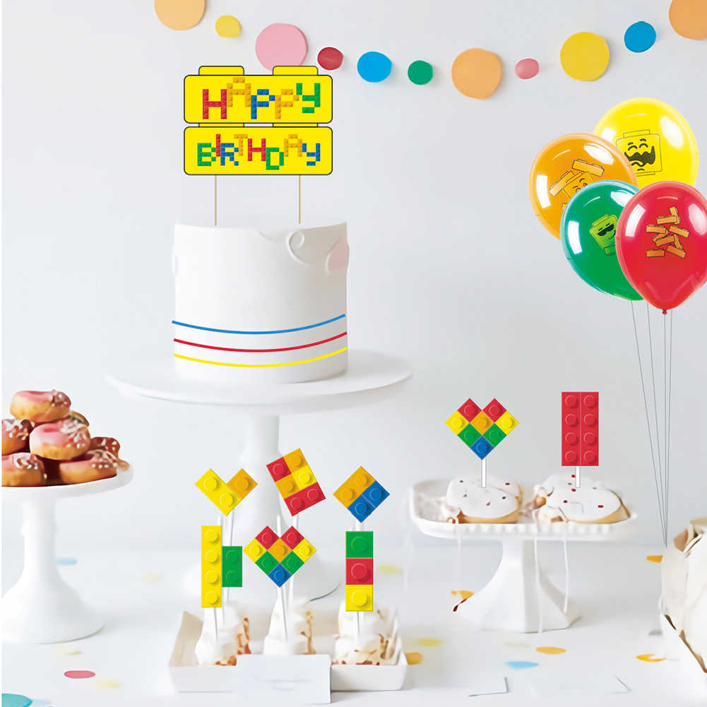 Fantastic Set Of 9 Building Block Brick Theme Cupcake Topper Kit Happy Funny Birthday Cards Online Inifofree Goldxyz
