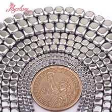 2,3,4,6mm cubo liso prata hematite grânulos espaçador de pedra natural contas para diy colar pulseiras brinco jóias fazendo 15