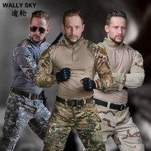 Breathable Frog Clothes Sport Kültéri Camouflage ruházat CS Tactics uniform Army Equipment Katonai egyenruha