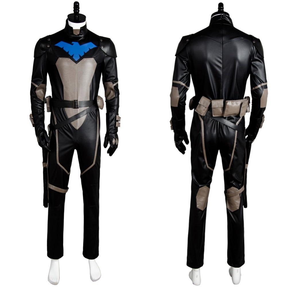Молодые юстиции S2 Nightwing Робин Косплэй костюм комбинезон костюм наряд равномерное набор маска для карнавала Хэллоуин