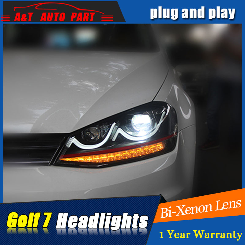 Car Styling VW Golf 7 headlights 2013-2015 VolksWagen Golf MK7 led headlight flash turn signal drl H7 hid Bi-Xenon Lens low beam free shipping for vland car styling head lamp for vw golf 7 headlights led drl led signal h7 d2h xenon beam