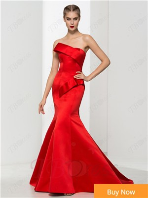 Red-Satin-Evening-Gown-Mermaid-Strapless-Ruffle-Brush-Train-Evening-Dresses-Long-Robe-De-Soiree-Great