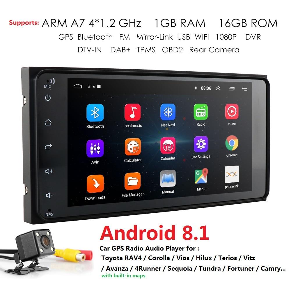 7 Android 8.1 4 Core 2Din Car Media Player for Corolla E120 Toyota RAV4 Hilux Fortuner Innova Prado No DVD