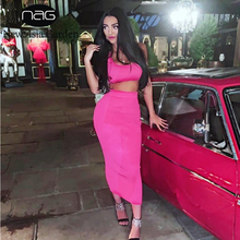 NewAsia Hot Pink Long Dress Women Ribbed Sexy Sleeveless Bodycon Beach Resort Style Tight Summer 2019 New Vestidos