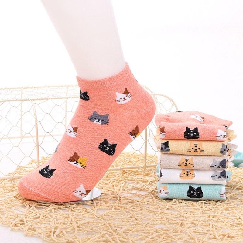 2018 5Pair/Lot Women Cotton Short Sock Women Breathable Socks Funny Animals Cat Pattern Socks for Female