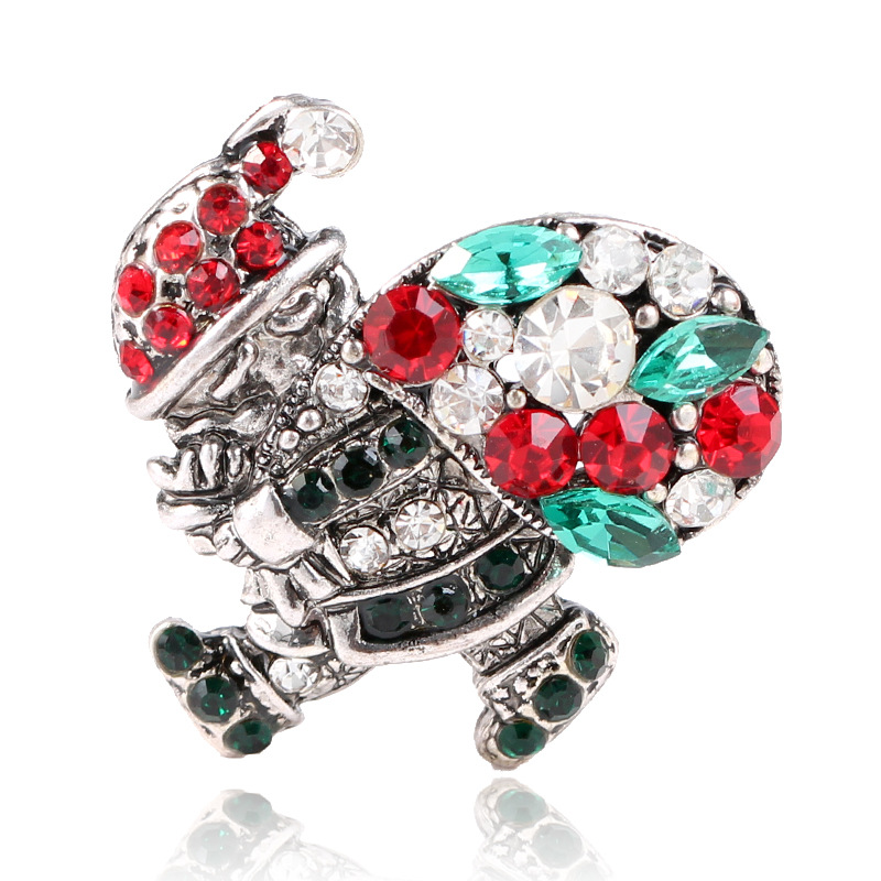 CINDY XIANG Shiny Crystal Santa Claus With Present Brooches For Women And Man Colorful Rhinestone Pins Coat Accessories Jewelry in Brooches from Jewelry Accessories