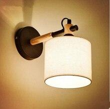 Деревянные Стены Бра Nordic СВЕТОДИОДНЫЕ Бра Fabirc Абажур Деревянные Светильники Aplik Ламба Аппликации Сравнению Murales