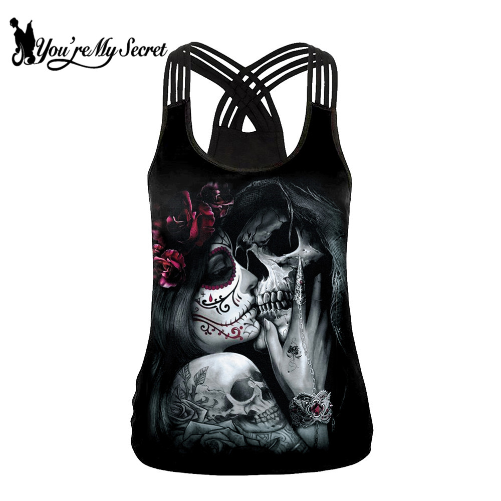 [You're My Secret] 2019 Summer Skull Girl Digital Print Women's   Tank     Tops   Fantastic Gothic Style Sling   Top   Sexy Backless Vest
