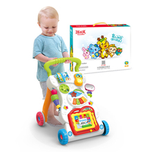 Toddlers Baby Walker Toy First Step Car Multi-Function Baby Trolley Walker Sit-to-Stand ABS Musical Walker with Adjustable Screw