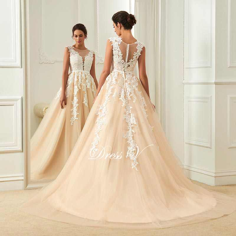 5becdb7c25b ... Dressv champagne wedding dress scoop neck a line appliques court train  bridal gowns elegant long outdoor church ...