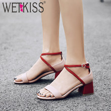 WETKISS Medium Heels Thick Women Sandals Gladiator Cross Tied Footwear Fashion Casual Ladies Sandals 2019 Summer Shoes Women Red(China)