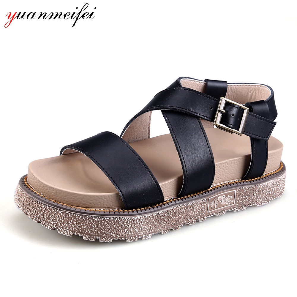 yuanmeifei Buckle Genuine Leather Shoes Women's Sandals Wedges Shoes Ladies Summer Platform Open Toe 2018 New Arrival Size 34-43 phyanic 2017 gladiator sandals gold silver shoes woman summer platform wedges glitters creepers casual women shoes phy3323