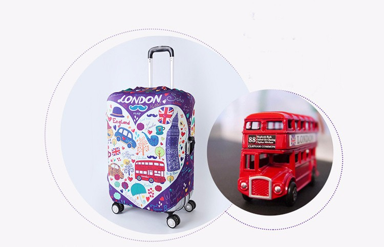 TRIPNUO Thicker Blue City Luggage Cover Travel Suitcase Protective Cover for Trunk Case Apply to 19''-32'' Suitcase Cover 17
