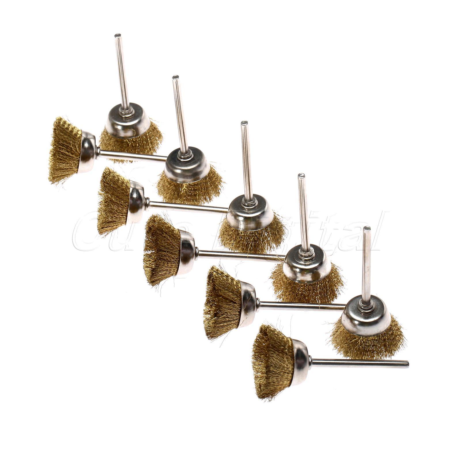 10 Piezas Accesorios Dremel 25mm Cepillo Rotativo Brochas De Rueda De Alambre De Latón Para Taladro Herramienta Rotativa Cepillo De Pulido Para Metal Limpieza De Polvo En Venta