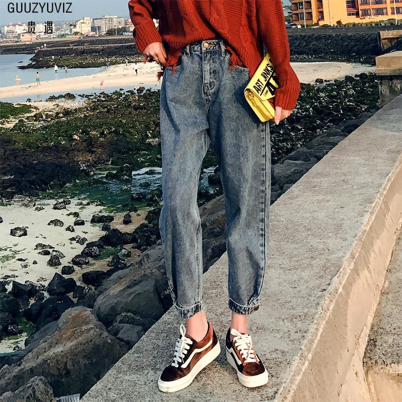 GUUZYUVIZ Vintage Casual Autumn Winter Thick Jeans Woman Cotton High Waist Plus Size Chic Loose Denim Harem Pants Mujer
