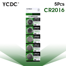 Cheap pilha 5x 3V Lithium Button for watch Coin Cells Batteries CR2016 LM2016 BR2016 DL2016 KCR2016 for toy batteries