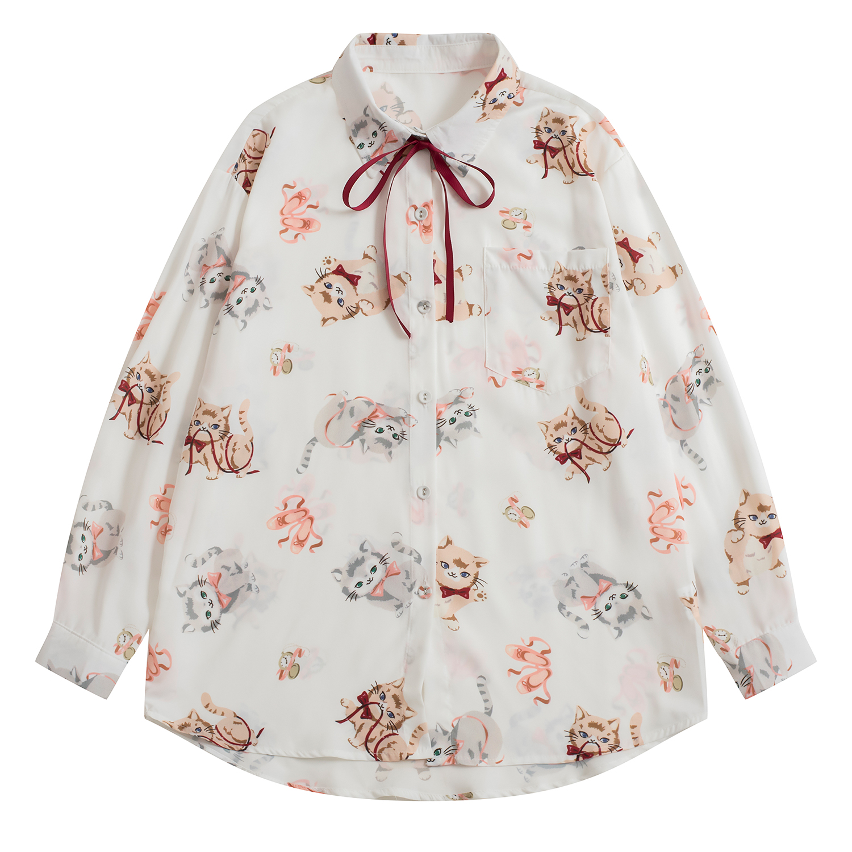 2019 New WomenDesign Sweet Women Chiffon Blouse Bow Tie Cute Cats Print Loose Chiffon Shirts Tops Long Sleeve