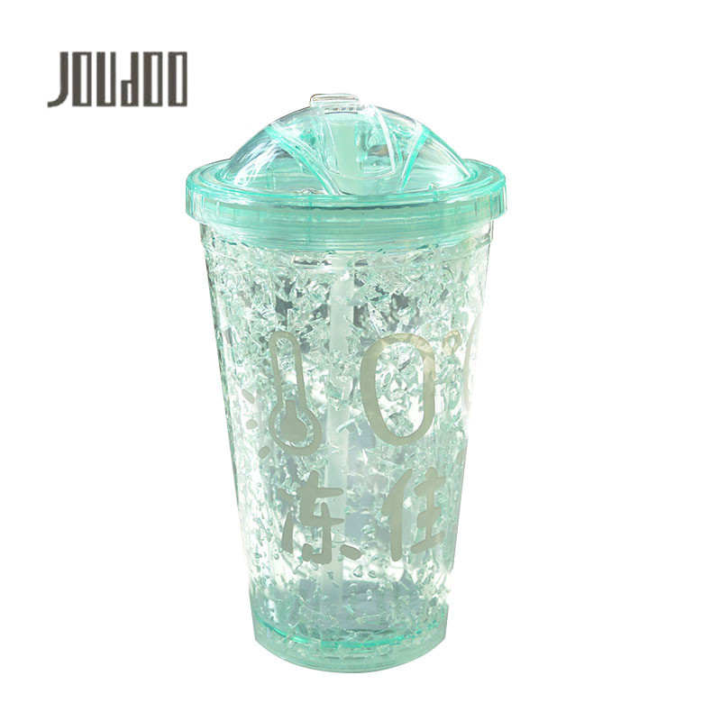 JOUDOO Creative Plastic Ice Bottle Push Cover Straw Practical Refrigeration Ice Water Bottle for Men and Women Student Gift