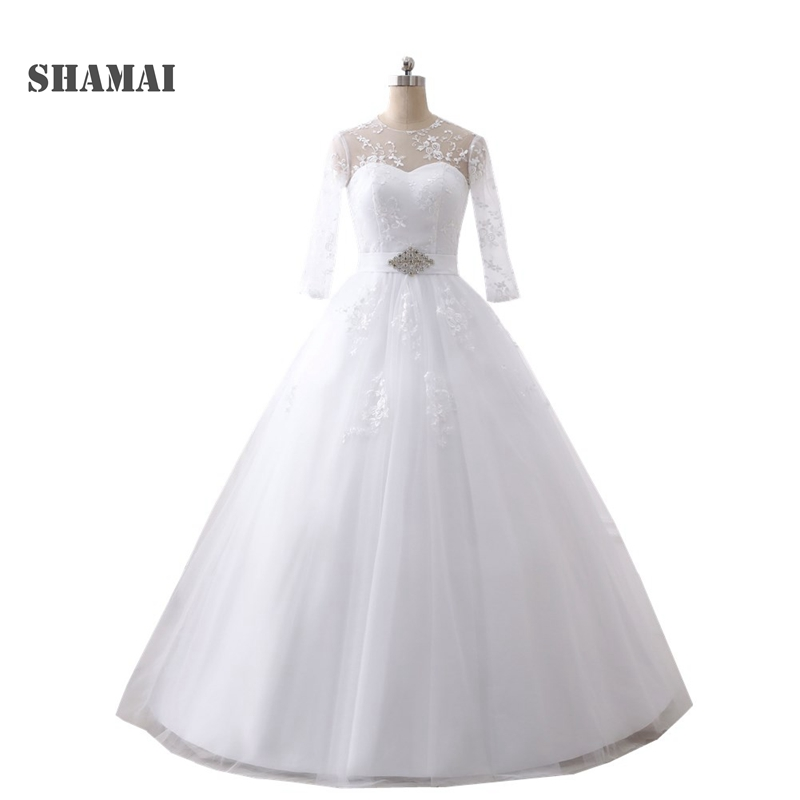 Cheap Plus Size Ball Gown Wedding Dresses: Elegant Plus Size Wedding Dresses 2019 3/4 Sleeves Lace