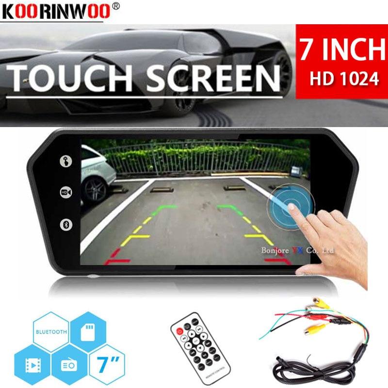 Koorinwoo 7 LCD MP5 Bluetooth Car Rear View Mirror Monitor Touch Screen HD 1024x600 Explorer Reversing
