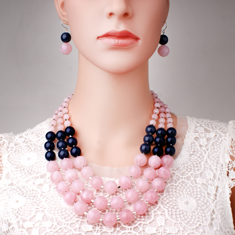 MOON GIRL Pink African Resin Beads Jewelry Sets For Women