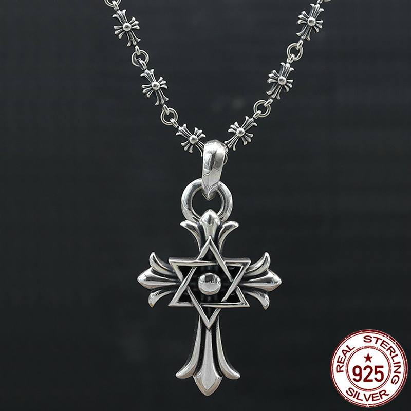 S925 sterling silver men's necklace personality fashion classic jewelry punk style six-pointed star cross shape 2018 new gift punk style silver plated etched star circle pendnat necklace for men