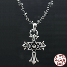 ФОТО s925 sterling silver men's necklace personality fashion classic jewelry punk style six-pointed star cross shape 2018 new gift