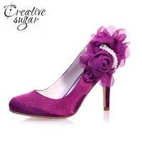 Creativesugar Elegant 3D flower pearls wedding party prom pumps satin dress shoes wedding heels purple royal blue silver ivory