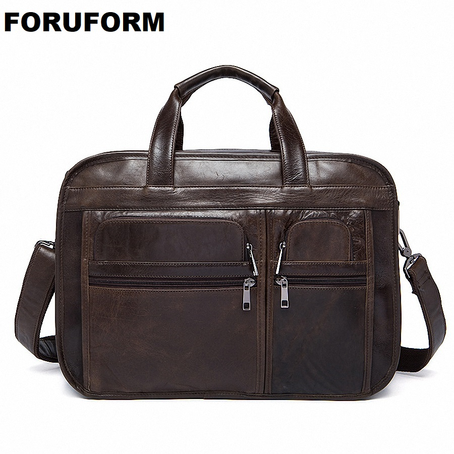 New Men's Bag Genuine Leather Briefcase Men Classic Business Briefcase Handbag office Shoulder Bag For Men Cowhide bags LI-1128