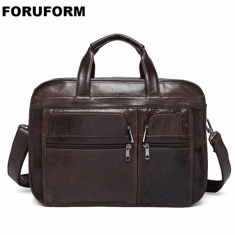 New Men's Bag Genuine Leather Briefcase Men Classic Business Briefcase Handbag Office Shoulder Bag For Men Cowhide Bags LI-1128