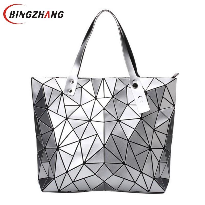 2018 moda Bao bolsa totalizador de las mujeres Fold verano bolso de mano láser geométrico diseñador mano Bolsas alta calidad Bolsos de hombro l4-3033