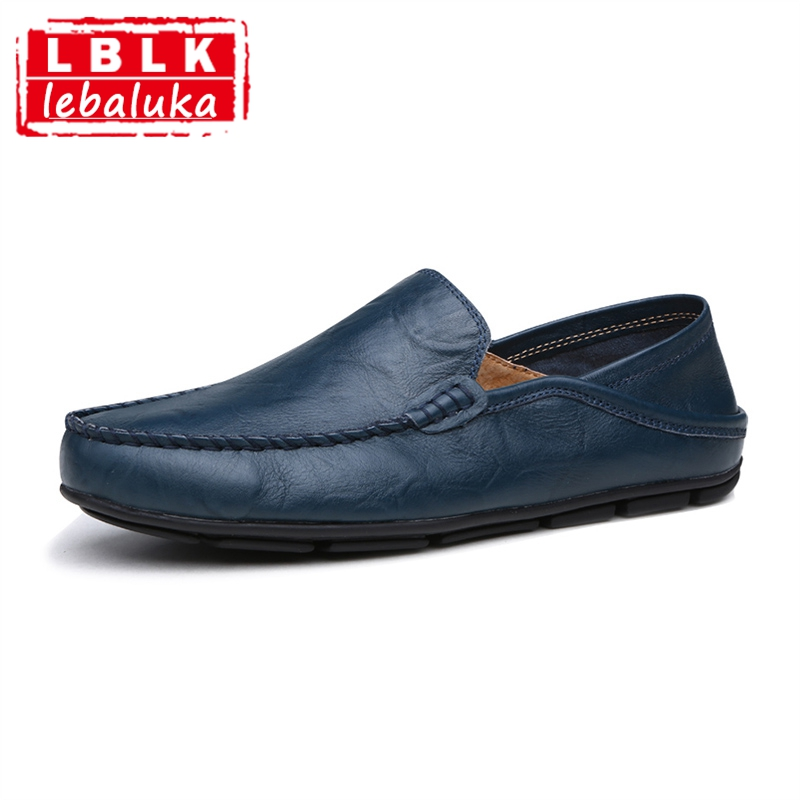 LebaLuka Solid Color Men Casual Shoes Slip On Handmade simple Shoes Concise Daily Driving Flats Shoes Male Footwears Size 38-46