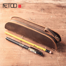 AETOO The first layer of leather Crazy Horse creative retro zipper makeup bag pencil bag portable simple grasping pencil bag europe and the united states retro crazy horse leather travel bag high quality men s leather handbag first layer of leather shou