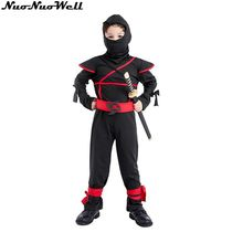 95-140cm Children Super Hero Boy Black Ninja Warrior Costumes Halloween Christmas Party Game Performance Ninja Party Jumpsuit