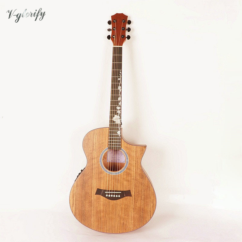 factory new right angle guitar walnut top acoustic electric guitar