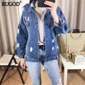Image 3 - RUGOD płaszcz typu Basic bombowce tkanina w stylu Vintage Patchwork kurtka dżinsowa kobiet kowbojski dżins 2019 jesień postrzępione poszarpane dziury kurtka dżinsowa