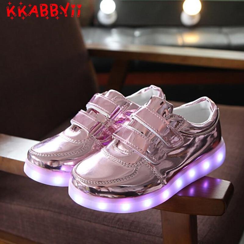 все цены на EUR 25-34 Luminous Sneakers USB Charge Led Children Shoes Boys Girls Glowing Tennis Kids Light up Shoes онлайн