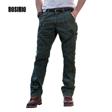 BOSIBIO Mens Cargo Pants With Zipper Pockets Design Cotton Soldier Combat Trouser