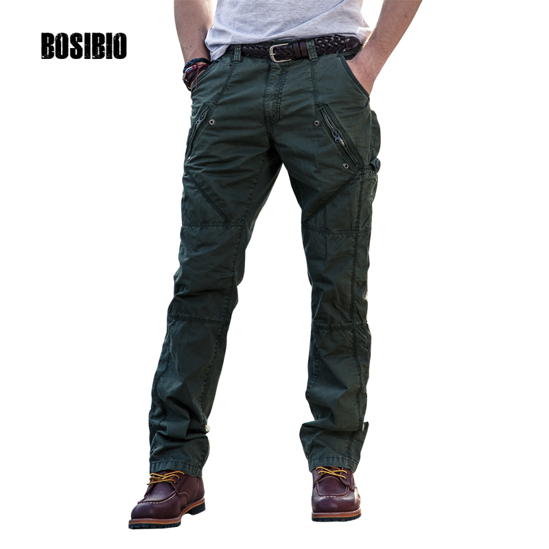 Mens Cargo Pants With Zipper Pockets New Design High Quality Cotton Soldier Combat Trouser 2017 New Arrival Size 29-38