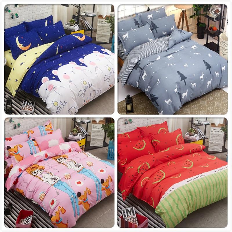 Top Quality Cotton Bed Linen Kids 3/4 pcs Bedding Set Full King Queen Single Size Duvet Cover 1.5 1.8m 2m 2.2m Bedsheet 150x200