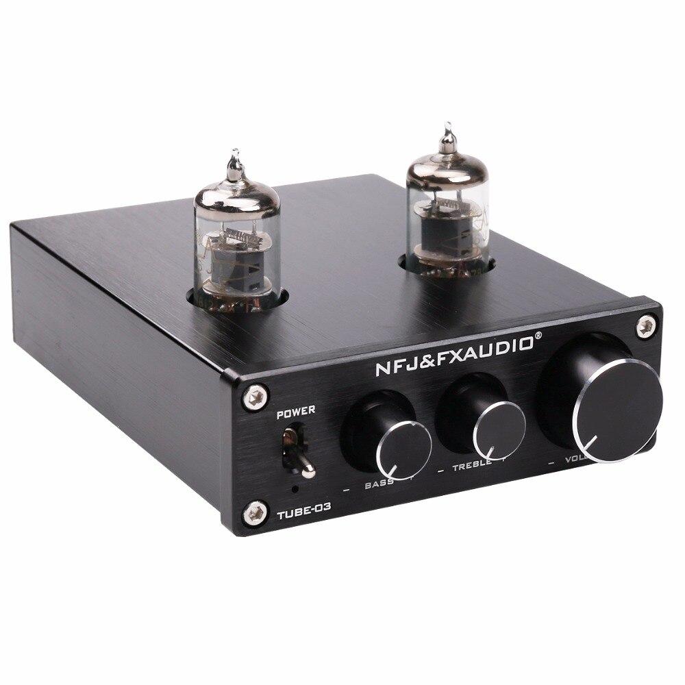 NOUVEAU FX-AUDIO TUBE-03 MINI Bile 6J1 Préamplificateur Amplificateur Tampon HIFI Audio Préamplificateur Aigus Réglage des Basses Pré- amplis DC12V