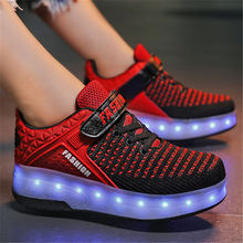 Adult Kids Shoes heelies LED Flashing Dounle Wheels Roller Skate Shoes Flash Roller Skating Shoes Colorful Glowing Roller Skates
