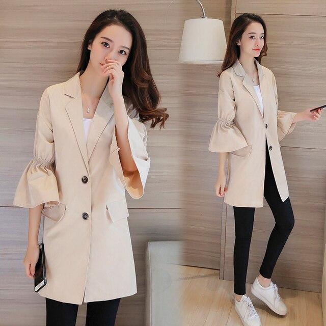 Новая Мода Женщины Длинные Пальто Шанца Flare Рукавом Свободные Тонкий Пальто Хаки 9171