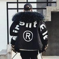 Men Winter Thick Fur Collar Hooded Parkas Jacket Male Streetwear Hip Hop Punk Cotton Padded Coat Fashion Overcoat Black