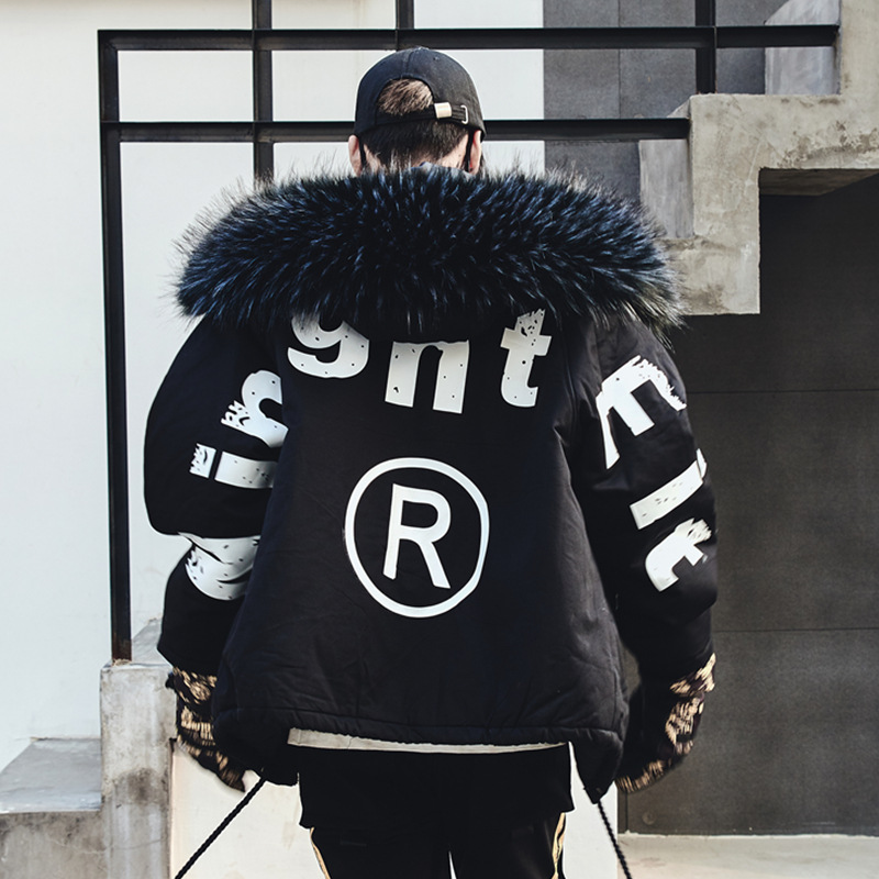 Erkek Kıyafeti'ten Parkalar'de Erkekler Kış Kalın Kürk Yaka Kapşonlu Parkas Ceket Erkek Streetwear Hip Hop Punk Pamuk Yastıklı Ceket Moda Palto Siyah'da  Grup 1