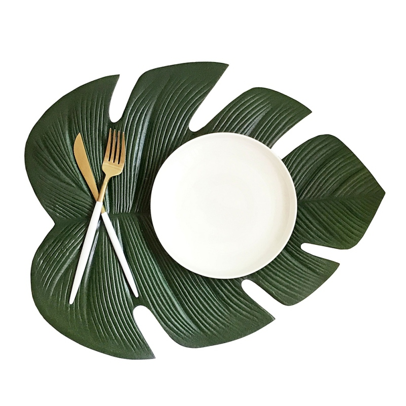 Kitchen Leaves Placemat Dining Table Mat Waterproof Pvc Disc Pads Bowl Coasters Table Decor Slip-resistant Pad