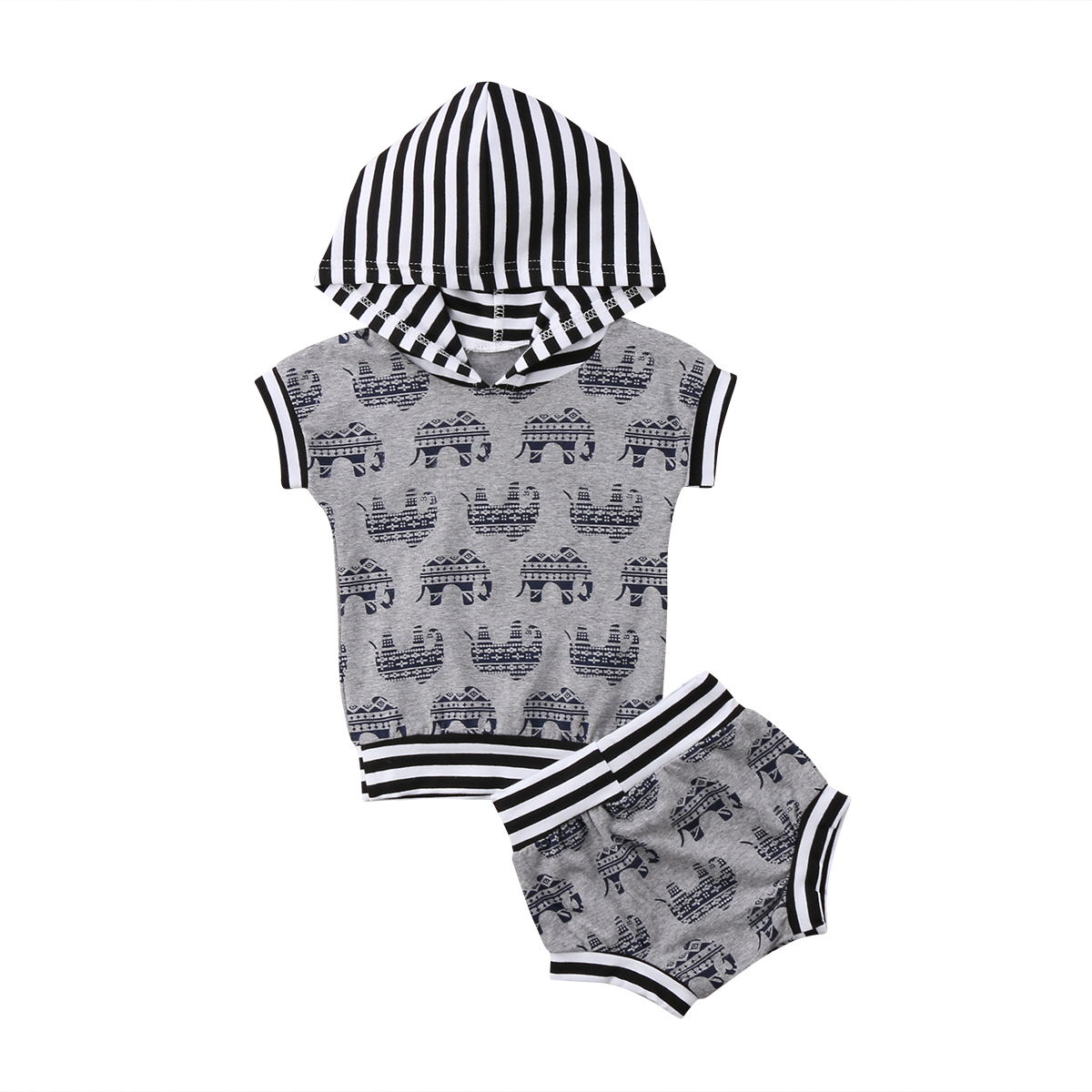 Casual Newborn Kids Baby Boys Clothes Set Cute Elephant Hooded Tops T-Shirt Shorts Outfi ...