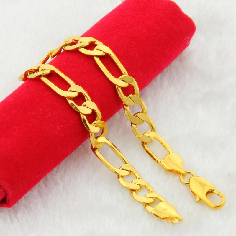 2018 NEW 24K Pure gold color bracelet chain 6 8 10 MM 20cm bracelets chain for Men male arm chain
