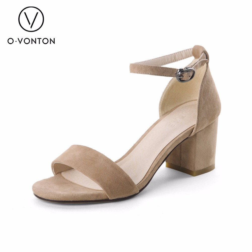 Leather Sandals Brand Shoes Women Ladies Heels Pumps Adjustable Ankle Wrap  Suede Shoes Woman Strap Bands